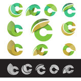 Vector eco green letter C logo elements Stock Image