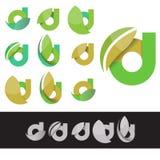 Vector eco green letter D logo elements Stock Photos