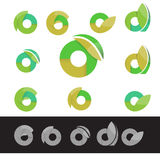 Vector eco green letter O round logo elements Royalty Free Stock Photos