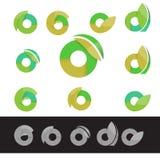 Vector eco green letter O round logo elements Royalty Free Stock Photos
