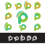 Vector eco green letter P logo elements Royalty Free Stock Photo