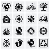 Vector Eco icon set. On grey background Royalty Free Stock Image