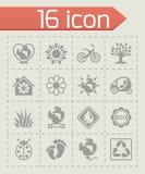 Vector Eco icon set. On grey background Stock Photography