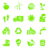 Vector Eco Icons. 16 Green Ecology Vector Icons vector illustration