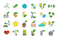 Vector eco icons set. Set of 24  eco icons Stock Images