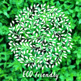 Vector ECO logo. Blurred rural background. Vector ECO logo, leaves laurel label. Hand drawn plants elements. ECO friendly. Circle leaves, branches sign. Blurred Royalty Free Stock Images