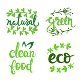 Vector eco natural bio logo set. Green icons collection. Raw food badges, labels. Lettering illustration for banners Stock Images
