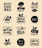 Vector eco,organic,bio logo cards templates. Handwritten healthy eat icons set. Vegan, natural food and drinks signs. Farm market, store labels collection. Raw Stock Image