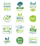 Vector eco,organic,bio logo cards templates. Handwritten healthy eat icons set. Vegan, natural food and drinks signs. Farm market, store labels collection. Raw Royalty Free Stock Photo