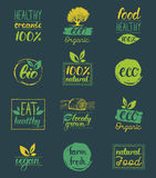 Vector eco,organic,bio logo cards templates. Handwritten healthy eat icons set. Vegan, natural food and drinks signs. Royalty Free Stock Photography