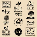 Vector eco, organic, bio logos. Handwritten healthy eat logotypes set. Vegan, natural food and drinks signs. Farm market, store icons collection. Raw meal Royalty Free Stock Photo