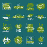 Vector eco, organic, bio logos or signs. Vegan,healthy food badges,tags set for cafe,restaurants,products packaging etc. Stock Photo