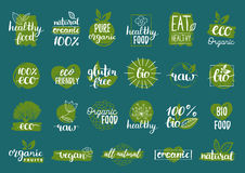 Vector eco, organic, bio logos or signs. Vegan,healthy food badges,tags set for cafe,restaurants,products packaging etc. Vector eco, organic, bio logos or signs Royalty Free Stock Image
