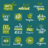 Vector eco, organic, bio logos or signs. Vegan,healthy food badges,tags set for cafe,restaurants,products packaging etc. Royalty Free Stock Photos