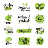 Vector eco, organic, bio logos or signs. Vegan,healthy food badges,tags set for cafe,restaurants,products packaging etc. Vector eco, organic, bio logos or signs stock illustration
