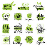 Vector eco, organic, bio logos or signs. Vegan,healthy food badges,tags set for cafe,restaurants,products packaging etc. Stock Photography