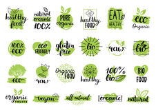 Vector eco, organic, bio logos or signs. Vegan,healthy food badges,tags set for cafe,restaurants,products packaging etc. Royalty Free Stock Images