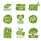 Vector eco, organic, bio logos or signs. Vegan,healthy food badges,tags set for cafe,restaurants,products packaging etc. Stock Photos