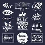 Vector eco, organic,bio logos. Vegan, natural food and drink signs. Farm market,store icons collection. Raw meal labels. Stock Photos