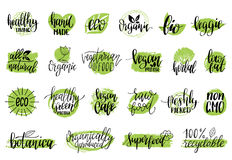 Vector eco, organic, bio signs. Vegan, healthy food illustrations set for cafe, restaurant badges, tags, packaging etc. Stock Images