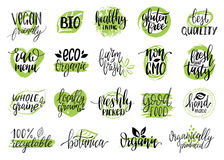 Vector eco, organic, bio signs. Vegan, healthy food illustrations set for cafe, restaurant badges, tags, packaging etc. Stock Photography