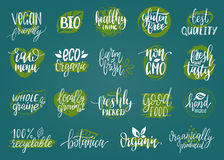 Vector eco, organic, bio signs. Vegan, healthy food illustrations set for cafe, restaurant badges, tags, packaging etc. Royalty Free Stock Photo