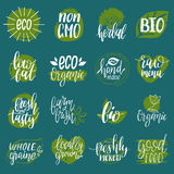 Vector eco, organic, bio signs. Vegan, healthy food illustrations set for cafe, restaurant badges, tags, packaging etc. Vector eco, organic, bio logotypes or Royalty Free Stock Photos