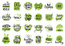 Vector eco, organic, bio signs. Vegan, healthy food illustrations set for cafe, restaurant badges, tags, packaging etc. Vector eco, organic, bio logotypes or Stock Image