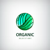 Vector eco, organic, healthy natural food logo, icon. Linear hand drawn Stock Photography