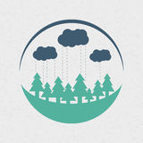 Vector eco style rounded flat logo design. In colors. Forest, clouds and rain. Can be used as eco-sign on product packages or as separate logo for eco-oriented royalty free illustration