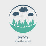 Vector eco style rounded flat logo design. Vector eco style logo design in colors. Round shape with text. Can be used as eco-sign on product packages or as stock illustration