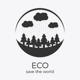 Vector eco style rounded flat logo design. Vector eco style logo design. Round shape with text. Can be used as eco-sign on product packages or as separate logo royalty free illustration