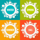 Vector eco town seasons illustration Royalty Free Stock Photo