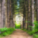 Vector ecological blurred illustration with road, trees and eco label vector illustration