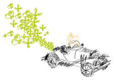 Vector ecological car. With vectors butterfly and flowers Royalty Free Stock Photos
