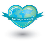 Vector ecological care, heart symbol Royalty Free Stock Photos