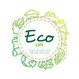 Vector ecological icons circle composition. Eco design concept in doodle style Stock Photography