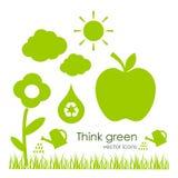 Vector ecologische pictogrammen Stock Fotografie