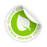 Vector ecology bent sticker. Vector white bent sticker with symbol of ecology Stock Images