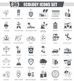 Vector Ecology black icon set. Dark grey classic icon design for web. Royalty Free Stock Photography