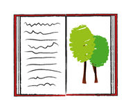 Vector ecology book. Sketch illustration of open book with image of trees isolated on white background Royalty Free Stock Photography