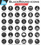 Vector Ecology circle white black icon set. Ultra modern icon design for web. Stock Images