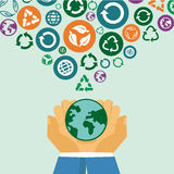 Vector ecology concept - human hands holding globe Royalty Free Stock Image