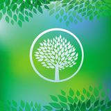 Vector ecology concept - tree emblem Royalty Free Stock Photos