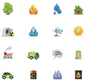 Vector ecology icon set. Set of the simple colorful ecology icons Royalty Free Stock Image