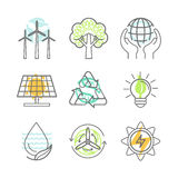Vector ecology icons Royalty Free Stock Photography