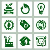 Vector ecology icons set Royalty Free Stock Photos