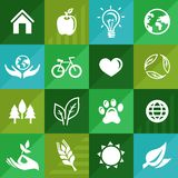 Vector ecology icons and signs in flat retro style Stock Image