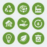 Vector ecology and recycling icons set Royalty Free Stock Photo