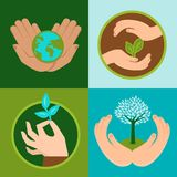 Vector ecology signs and symbols in flat style. Protect nature Stock Image